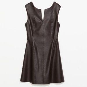ZARA Dress Brown Faux Leather S